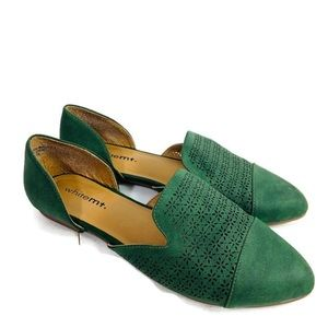 White MT Green Close Toe d'orsay flats Perforated